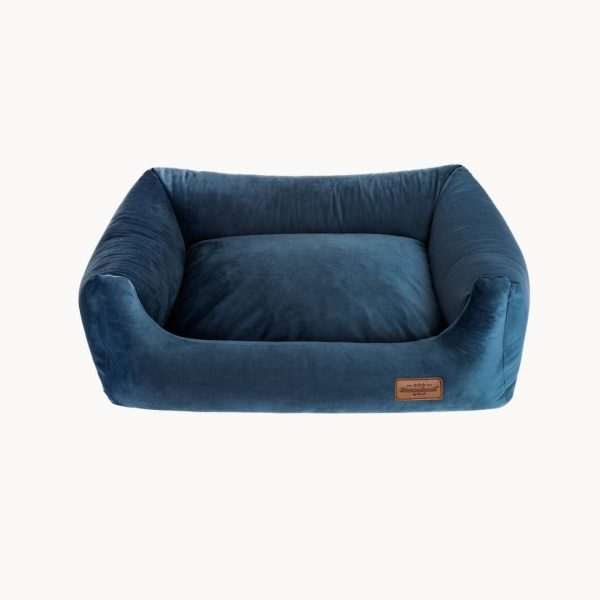 velvet sofa pelech tmavomodry